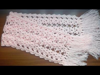 Bufanda con flores en punto Puff ( crochet )