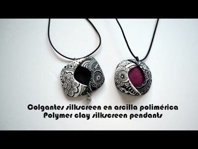Colgantes silkscreen en arcilla polimérica - Polymer clay silkscreen pendants
