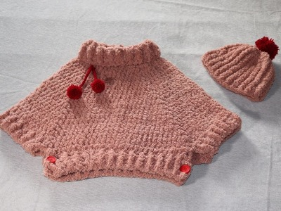 Conjunto poncho y gorro con pompón a crochet.