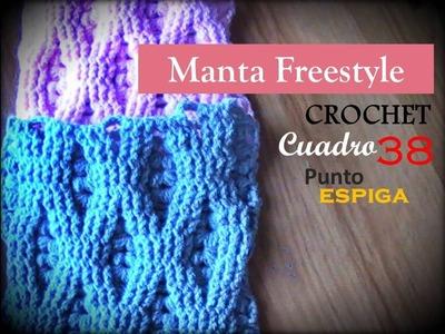 PUNTO ESPIGA a crochet - cuadro 38 manta FREESTYLE (zurdo)