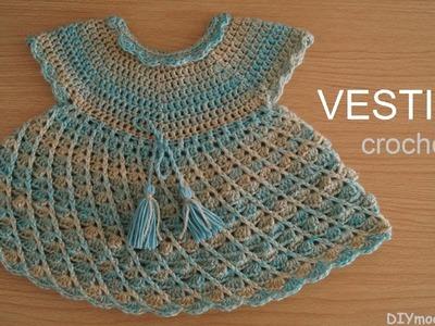 Vestido de niña tejido a crochet paso a paso