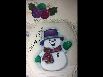 Pintura En Tela Muñeco De Nieve # 2 Con Cony