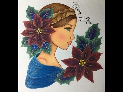 Pintura En Tela Rostro Con Nochebuenas # 1 Con Cony