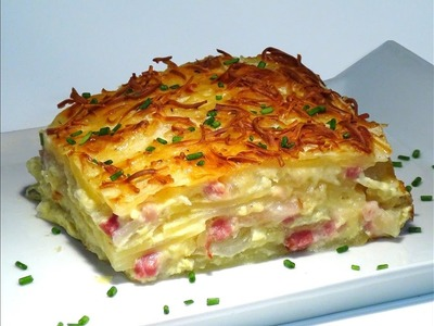 Receta Patatas al gratén con cebolla, bacon y queso Manchego - Recetas de cocina, paso a paso