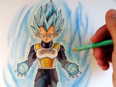 Cómo Dibujar a Vegeta en modo Dios SSJ (pelo azul) | How to draw Vegeta god blue hair