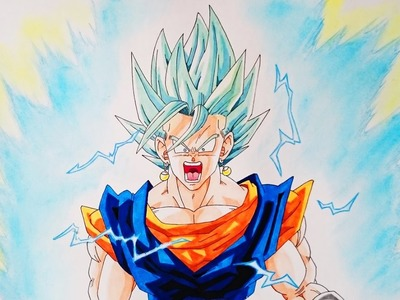 Cómo dibujar a Vegetto SSJ Dios SSJ Blue paso a paso - How to Draw Vegito SSJ Blue