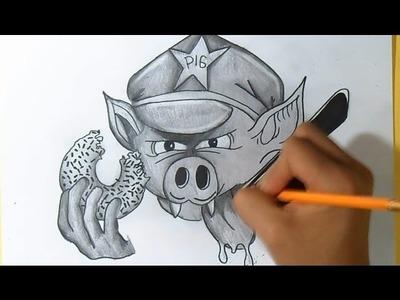 Cómo dibujar un Cerdo Policia con una Dona Graffiti - by Dw