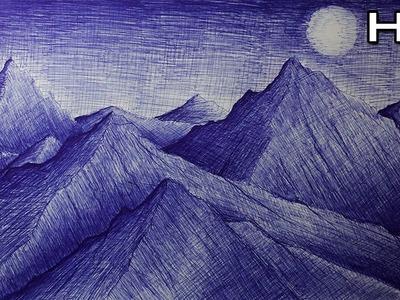 Cómo Dibujar un Paisaje de Montañas con Bolígrafo Paso a Paso - Tutorial