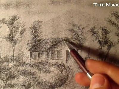 Cómo dibujar un sencillo paisaje a lápiz, cómo dibujar bocetos de paisajes a lápiz