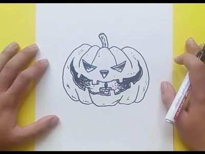 Como dibujar una calabaza paso a paso 11 | How to draw a pumpkin 11