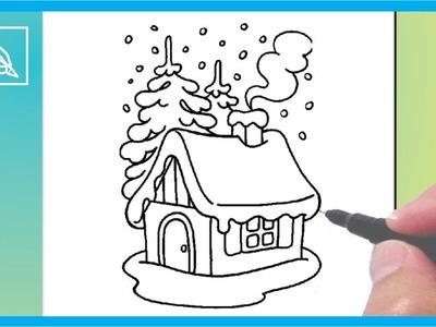 Cómo Dibujar Una Casita De Navidad - Drawing a Christmas House | Dibujando