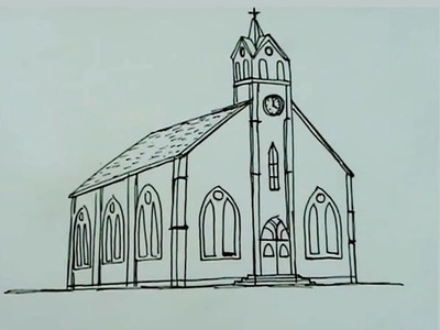 Dibuja paso a paso una iglesia catolica