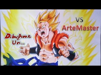 DIBUJAME UN  vs ARTEMASTER Como Dibujar a GOGETA ssj 2 Dragon Ball z. how to draw gogeta ssj 2