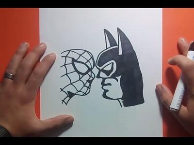 Como dibujar a Batman vs Spiderman paso a paso | How to draw Batman vs Spiderman