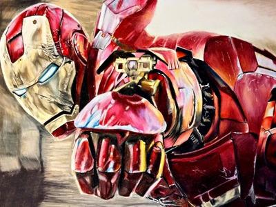 Cómo dibujar a IronMan realista con Lápices de colores | How to draw IronMan