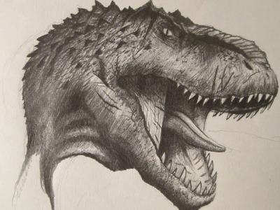 Cómo dibujar la cabeza de un dinosaurio carnívoro a lápiz paso a paso