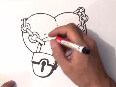 Como dibujar un corazon con candado | como dibujar un corazon con candado paso a paso