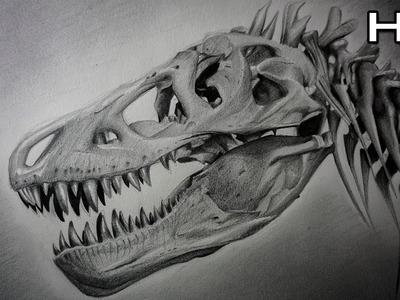 Cómo Dibujar un Cráneo de Tiranosaurio Rex Paso a Paso - Dinosaurio