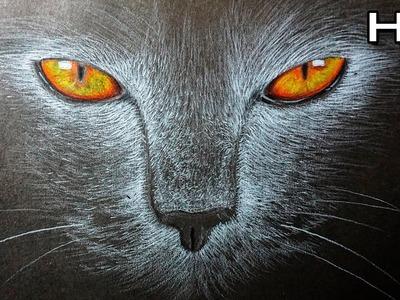 Cómo Dibujar un Gato Paso a Paso en papel negro - Tutorial Fácil