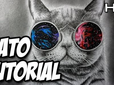 Cómo dibujar un gato realista a lápiz paso a paso, Gato Hipster Dibujo