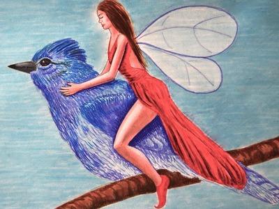 Cómo dibujar un hada y pájaro azul con marcadores - Arte Divierte.