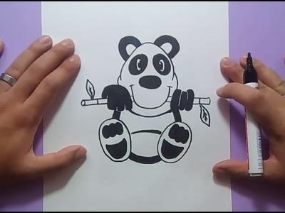 Como dibujar un oso panda paso a paso | How to draw a panda