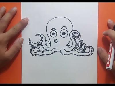 Como dibujar un pulpo paso a paso 5 | How to draw a octopus 5