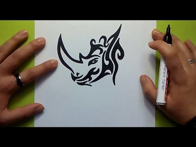 Como dibujar un rinoceronte tribal paso a paso | How to draw a tribal rhino