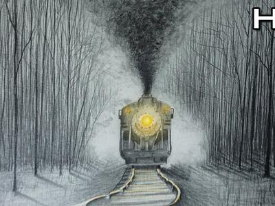 Cómo Dibujar un Tren Realista y humo a lápiz Paso a Paso - Tutorial