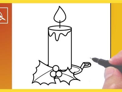 Cómo Dibujar Una Vela De Navidad - Drawing a Christmas Candle | Dibujando