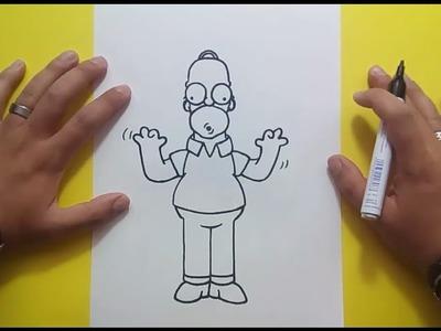 Como dibujar a Homer Simpson paso a paso 4 - Los Simpsons | How to draw Homer Simpson 4