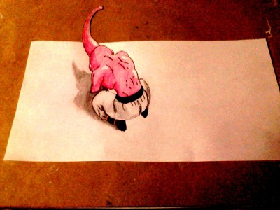 Como dibujar a majin buu 3d - dibujo 3d - 魔人ブウを描画する方法