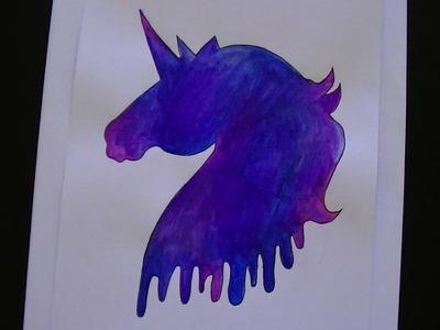 Como dibujar.pintar un unicornio galaxia - Dibujando