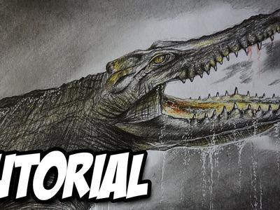 Cómo dibujar un cocodrilo prehistórico paso a paso,  dibujo de reptil a lápiz