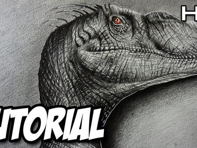 Cómo dibujar un Velociraptor Realista a lápiz paso a paso - TUTORIAL