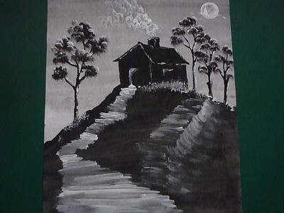 ¿ Cómo pintar con tempera una casa en un cerro de noche ?