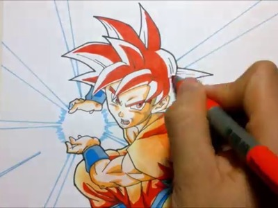TUTORIAL Como dibujar a Goku Super saiyajin dios Rojo. How to draw Goku Ssj god (red hair)