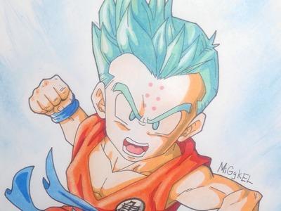 Como Dibujar a krilin Super Saiyan dios pelo azul RETO con Jando. How to draw ssj god ssj krilin