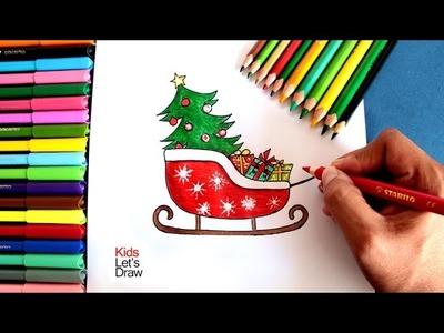 Cómo dibujar el Trineo de Papa Noel Navidad | How to draw Santa Claus Sled