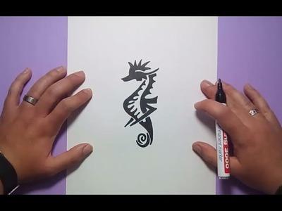 Como dibujar un caballito de mar tribal paso a paso | How to draw a sea horse tribal