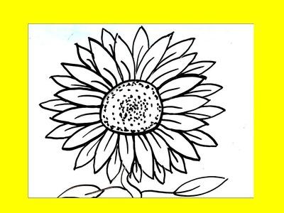 Cómo dibujar un girasol paso a paso █ Cómo dibujar flores. dibuja flor. dibujo faciles