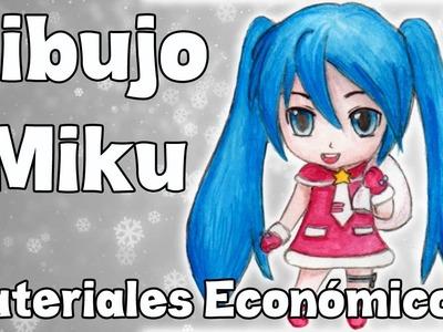 Dibujo a Miku Chibi con materiales económicos! - CHEAP ART SUPPLY CHALLENGE!