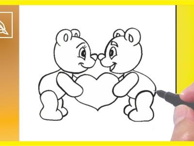 Cómo Dibujar Ositos Enamorados - How To Draw Little Bears In Love | Dibujando