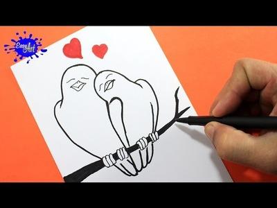 Como dibujar pájaros enamorados. how to draw birds in love.Como hacer una tarjeta