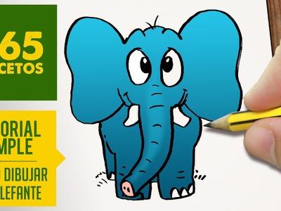 COMO DIBUJAR UN ELEFANTE FACIL PASO A PASO KAWAII: Aprender a dibujar para niños y mayores