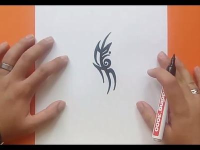 Como dibujar un tribal paso a paso 159   How to draw one tribal 159