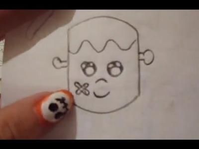 Dibuja un Frankenstain kawai Fácil Halloween Día de Muertos Drawing