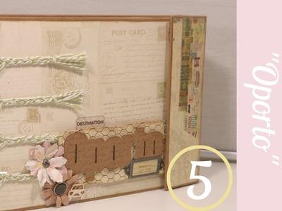 Scrapbooking. Álbum Oporto (parte5)FINAL.Cosido en Cadeneta y DecoraciónTapas.Tutorial Scrapbook