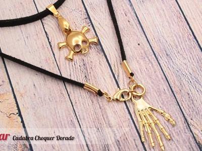 Aprende cómo hacer un Collar Cadabra Choquer para Halloween o Noche de Brujas