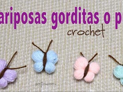 Mariposas gorditas o puff tejidas a crochet paso a paso en minutos!